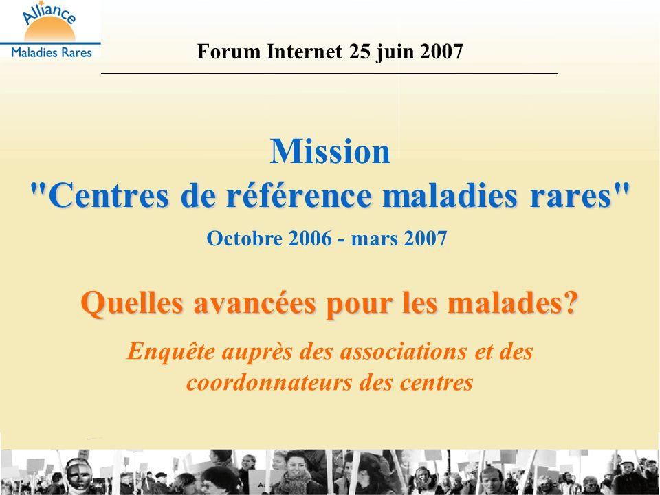 Questionnaires adressés : –en octobre 2006 à 160 associations ; –en novembre 2006 aux 67 centres labellisés en 2004 et 2005.