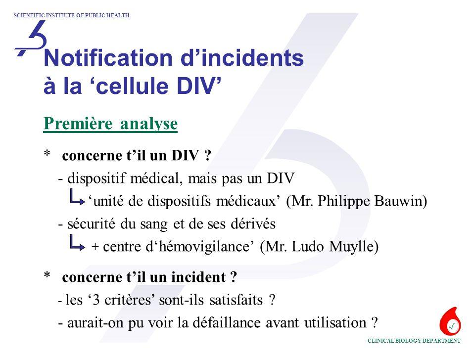 SCIENTIFIC INSTITUTE OF PUBLIC HEALTH CLINICAL BIOLOGY DEPARTMENT Déterminer l'Autorité Compétente 'coordinatrice' *situation actuelle - guide MEDDEV 2.12-1 rév.4 - un incident doit être notifié à l'Autorité Compétente du pays où l'incident a eu lieu - cette Autorité Compétente se charge de la coordination - hiérarchie:- l'état recevant le 'Rapport Initial d'Incident' - l'état où se situe le fabricant/son mandataire - l'état de 'l'Organisme Notifié' concerné Notification d'incidents à la 'cellule DIV'