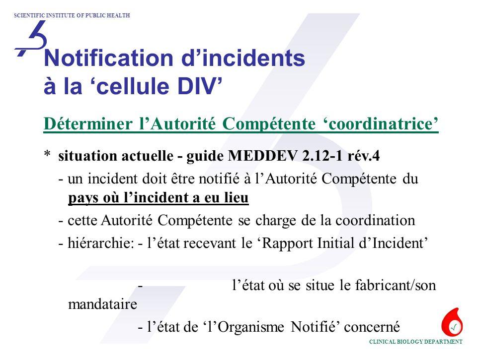SCIENTIFIC INSTITUTE OF PUBLIC HEALTH CLINICAL BIOLOGY DEPARTMENT Notification d'incidents à la 'cellule DIV' Déterminer l'Autorité Compétente 'coordinatrice' *revue du guide MEDDEV 2.12-1 rév.4 - l'Autorité Compétente de l'état membre où est situé le fabricant ou son mandataire se charge de la coordination - avantage: meilleur communication (langue !)