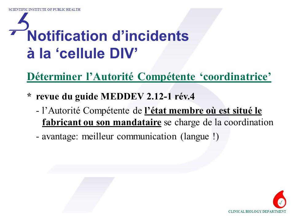 SCIENTIFIC INSTITUTE OF PUBLIC HEALTH CLINICAL BIOLOGY DEPARTMENT Coordination par la 'cellule DIV' Administratif *confirmation de la réception du 'Rapport d'Incident' *sauvegarder les données concernant l'incident *le 'Rapport d'Incident' a été introduit par un utilisateur - la 'cellule DIV' informe le fabricant ou son mandataire incident, lieu, DIV, confidentialité des données des patients *le cas échéant transmettre l'information à: -MINECO (appareils) - AFCN (RIA)