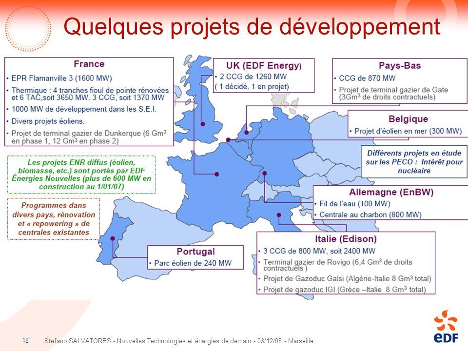 18 Stefano SALVATORES - Nouvelles Technologies et énergies de demain - 03/12/08 - Marseille Quelques projets de développement