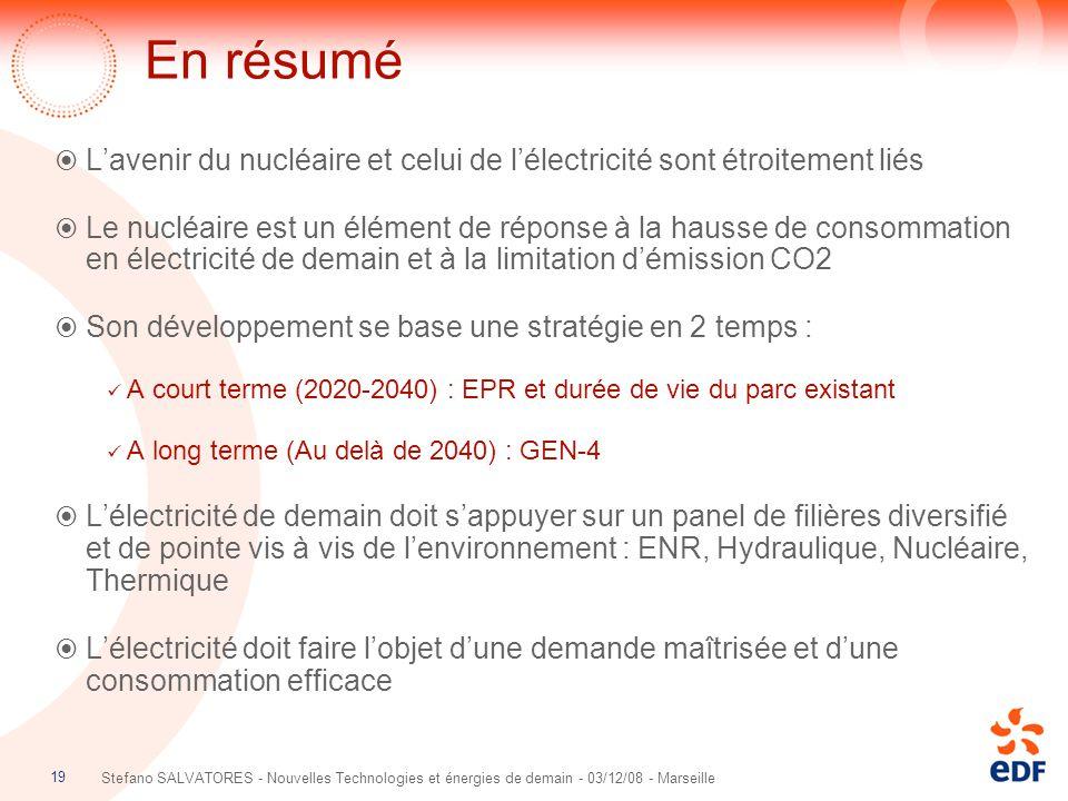 19 Stefano SALVATORES - Nouvelles Technologies et énergies de demain - 03/12/08 - Marseille En résumé  L'avenir du nucléaire et celui de l'électricit