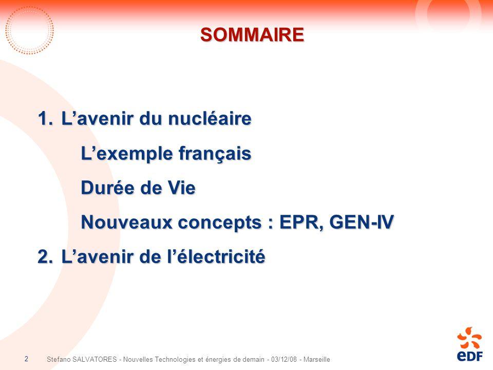 2 Stefano SALVATORES - Nouvelles Technologies et énergies de demain - 03/12/08 - Marseille SOMMAIRESOMMAIRE 1. L'avenir du nucléaire L'exemple françai