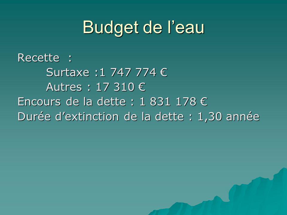 Budget de l'eau Recette : Surtaxe :1 747 774 € Autres : 17 310 € Encours de la dette : 1 831 178 € Durée d'extinction de la dette : 1,30 année