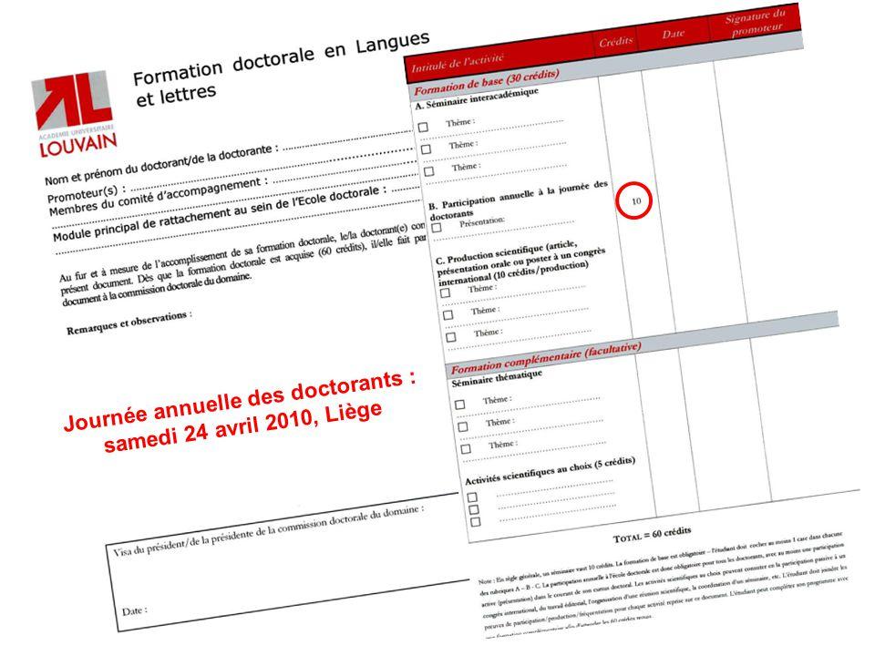 Journée annuelle des doctorants : samedi 24 avril 2010, Liège