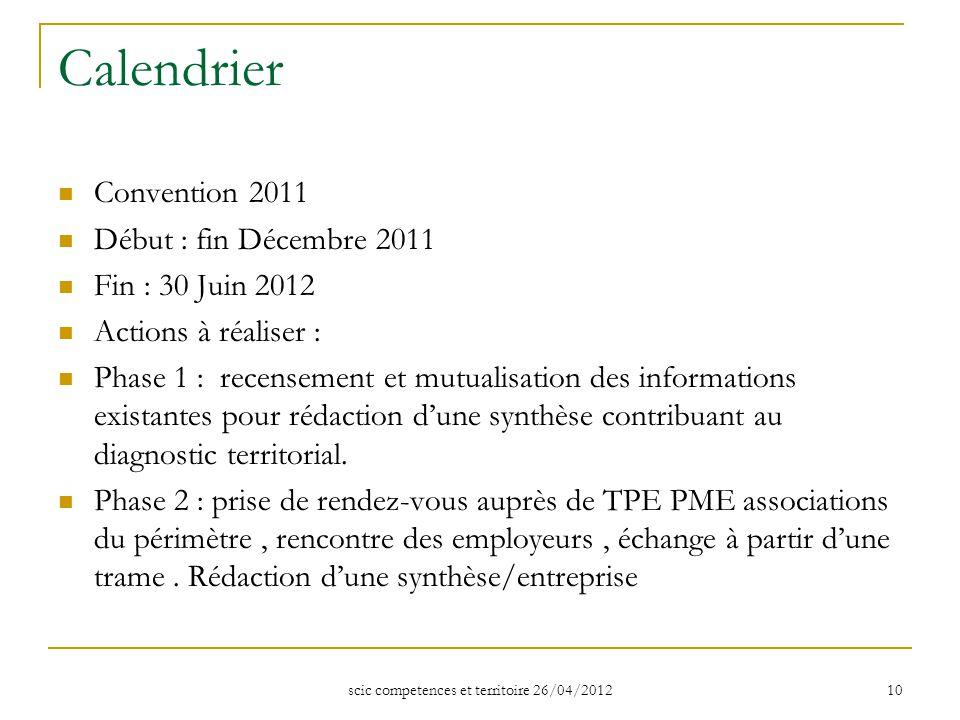 scic competences et territoire 26/04/2012 10 Calendrier Convention 2011 Début : fin Décembre 2011 Fin : 30 Juin 2012 Actions à réaliser : Phase 1 : re