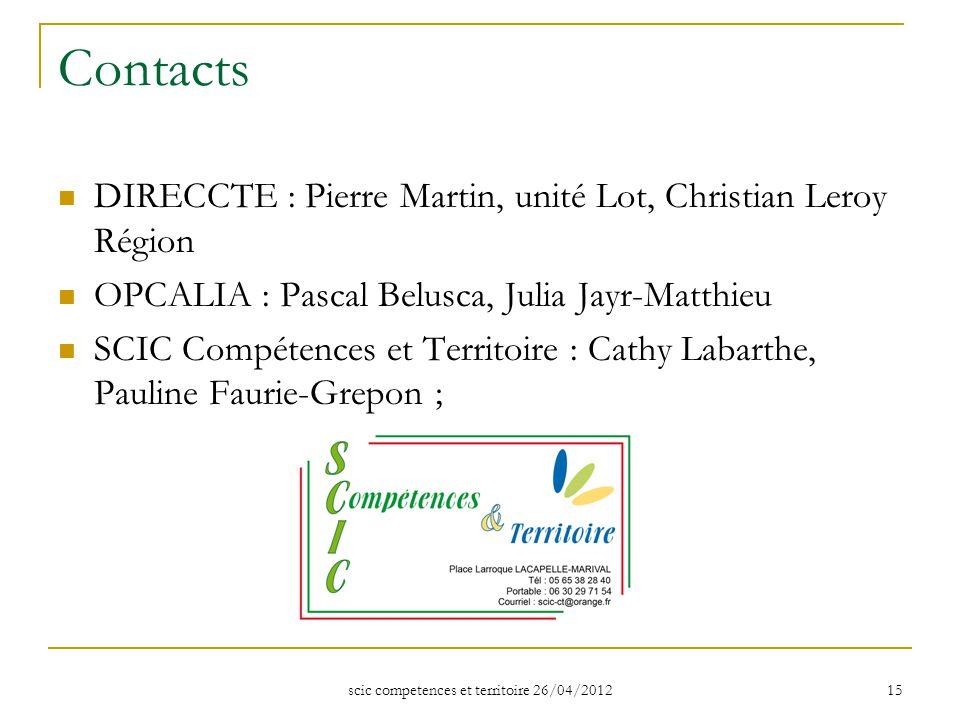scic competences et territoire 26/04/2012 15 Contacts DIRECCTE : Pierre Martin, unité Lot, Christian Leroy Région OPCALIA : Pascal Belusca, Julia Jayr