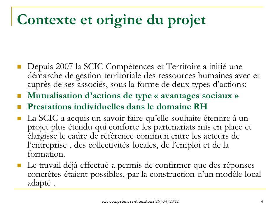 scic competences et territoire 26/04/2012 4 Contexte et origine du projet Depuis 2007 la SCIC Compétences et Territoire a initié une démarche de gesti