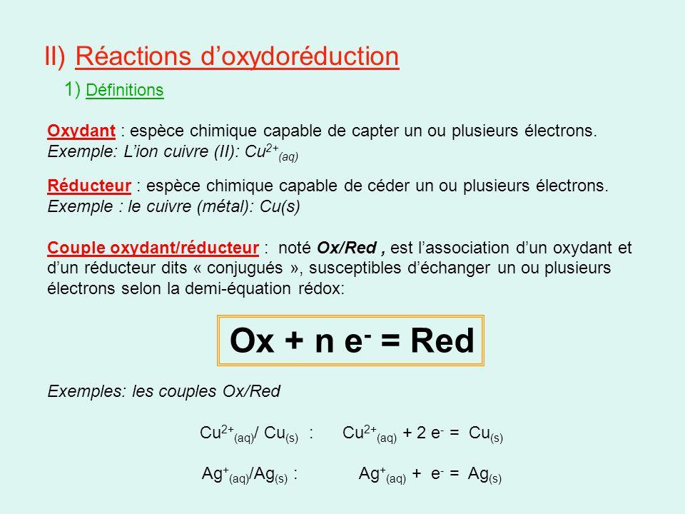 II) Réactions d'oxydoréduction 1) Définitions Oxydant : espèce chimique capable de capter un ou plusieurs électrons. Exemple: L'ion cuivre (II): Cu 2+