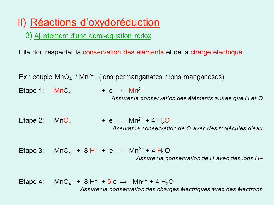 II) Réactions d'oxydoréduction 3) Ajustement d'une demi-équation rédox Elle doit respecter la conservation des éléments et de la charge électrique. Ex