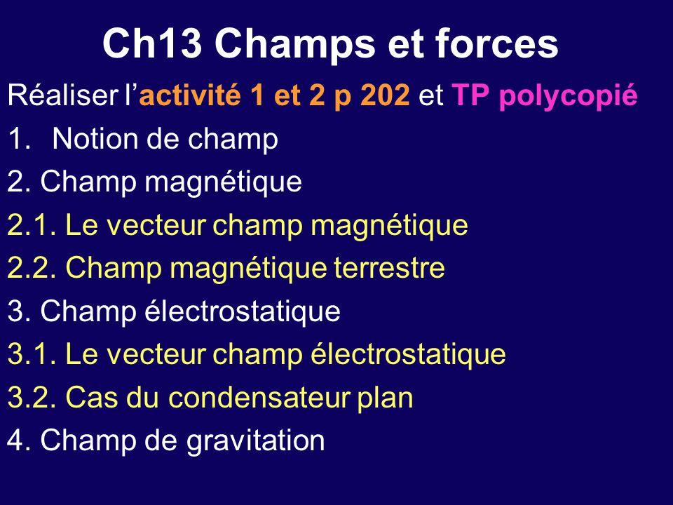 Ch13 Champs et forces Réaliser l'activité 1 et 2 p 202 et TP polycopié 1.Notion de champ 2. Champ magnétique 2.1. Le vecteur champ magnétique 2.2. Cha