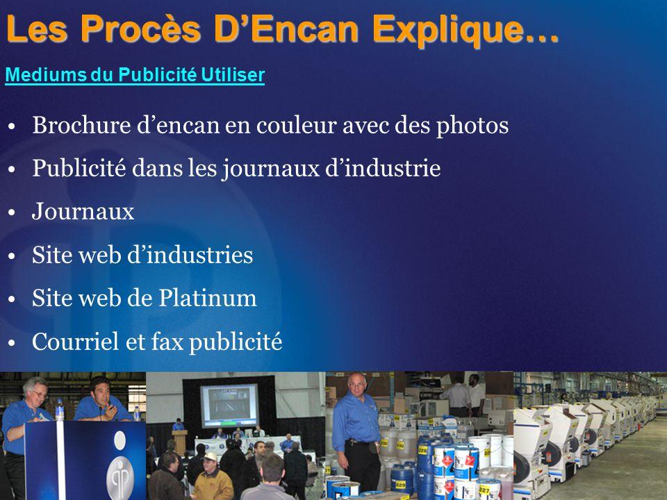 Brochure d'encan en couleur avec des photos Publicité dans les journaux d'industrie Journaux Site web d'industries Site web de Platinum Courriel et fax publicité Les Procès D'Encan Explique… Mediums du Publicité Utiliser