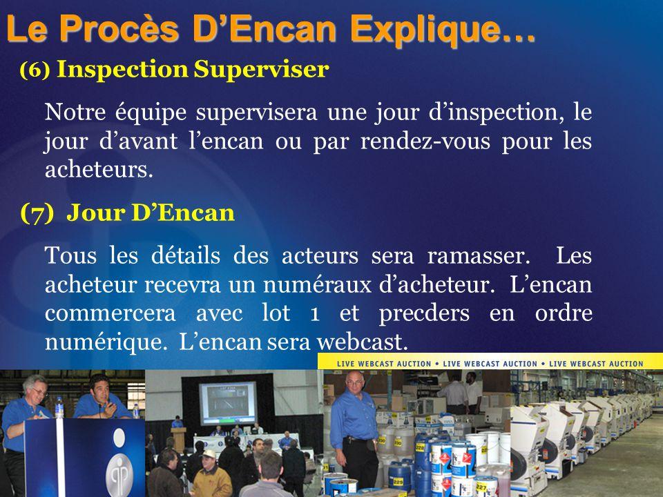 (6) Inspection Superviser Notre équipe supervisera une jour d'inspection, le jour d'avant l'encan ou par rendez-vous pour les acheteurs. (7) Jour D'En