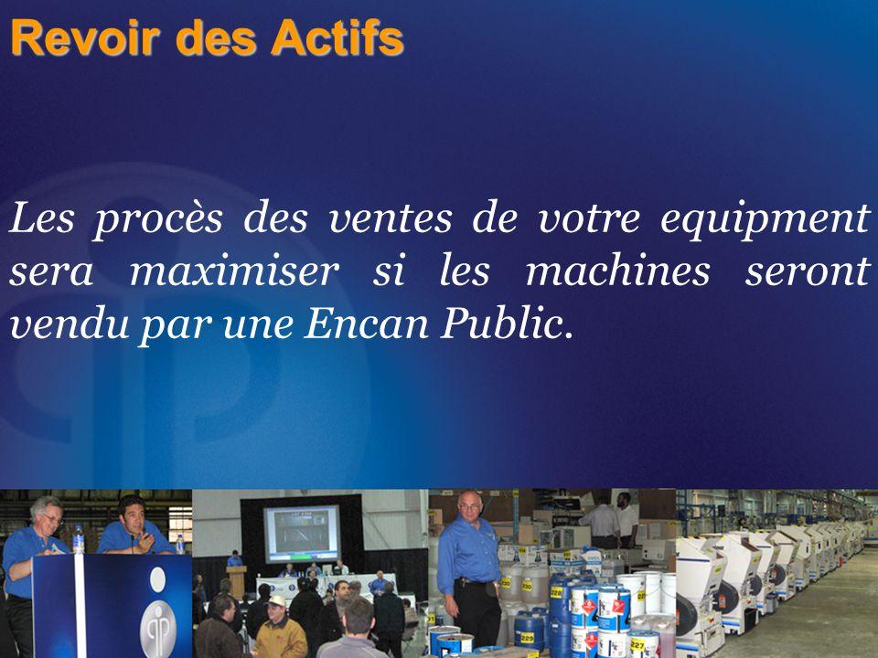 Revoir des Actifs Les procès des ventes de votre equipment sera maximiser si les machines seront vendu par une Encan Public.
