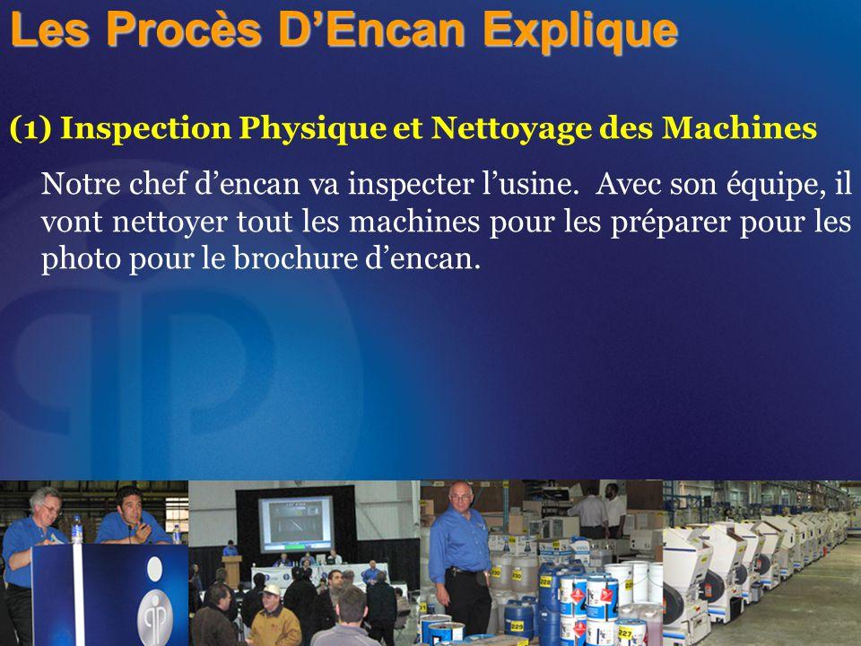 (1) Inspection Physique et Nettoyage des Machines Notre chef d'encan va inspecter l'usine. Avec son équipe, il vont nettoyer tout les machines pour le