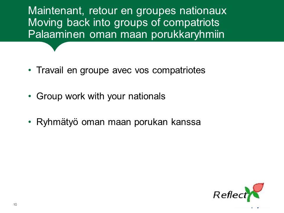 Maintenant, retour en groupes nationaux Moving back into groups of compatriots Palaaminen oman maan porukkaryhmiin Travail en groupe avec vos compatri