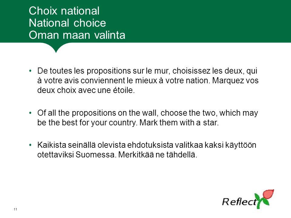 Choix national National choice Oman maan valinta De toutes les propositions sur le mur, choisissez les deux, qui à votre avis conviennent le mieux à votre nation.