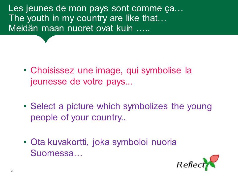 Les jeunes de mon pays sont comme ça… The youth in my country are like that… Meidän maan nuoret ovat kuin ….. Choisissez une image, qui symbolise la j