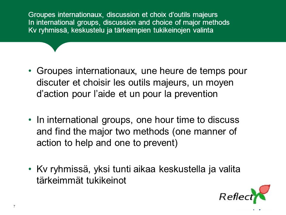 Groupes internationaux, discussion et choix d'outils majeurs In international groups, discussion and choice of major methods Kv ryhmissä, keskustelu j