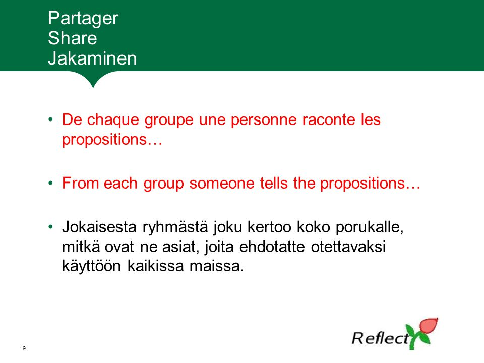 Partager Share Jakaminen De chaque groupe une personne raconte les propositions… From each group someone tells the propositions… Jokaisesta ryhmästä j