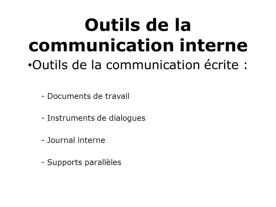 Outils de la communication interne Outils de la communication écrite : - Documents de travail - Instruments de dialogues - Journal interne - Supports parallèles