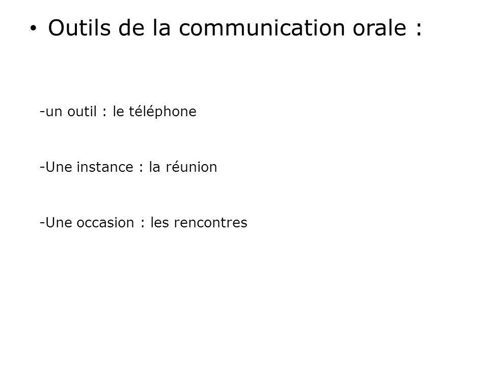 Outils de la communication orale : -un outil : le téléphone -Une instance : la réunion -Une occasion : les rencontres
