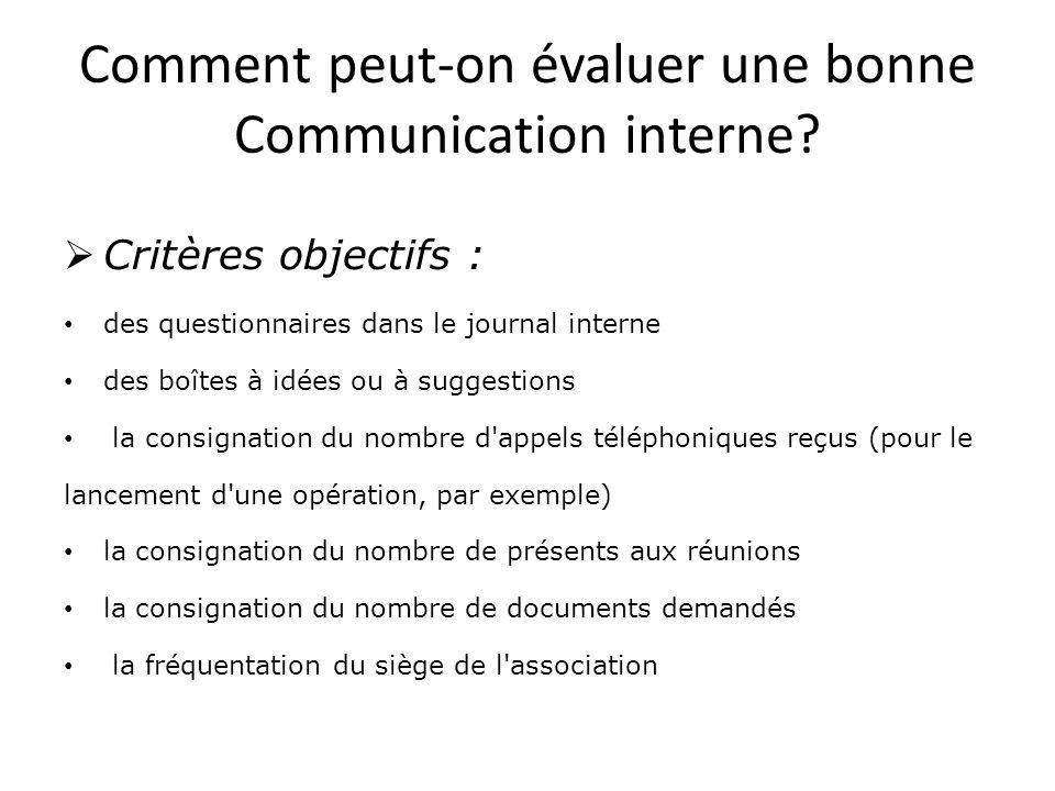 Comment peut-on évaluer une bonne Communication interne.