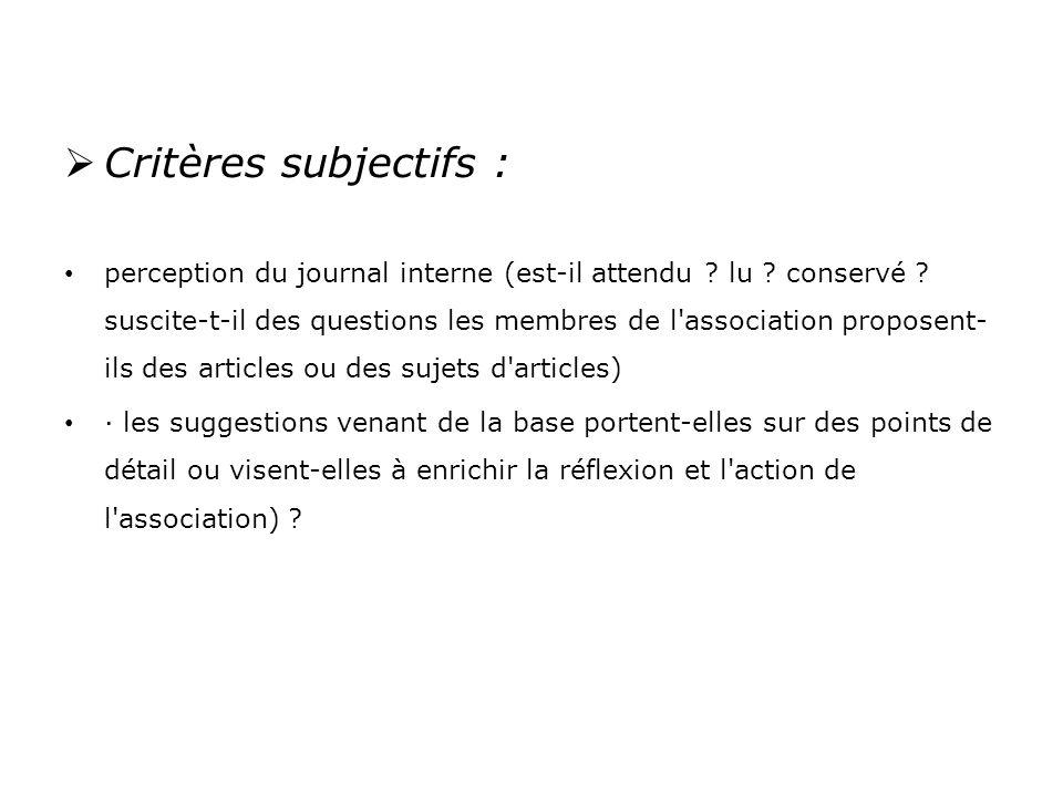 Critères subjectifs : perception du journal interne (est-il attendu .