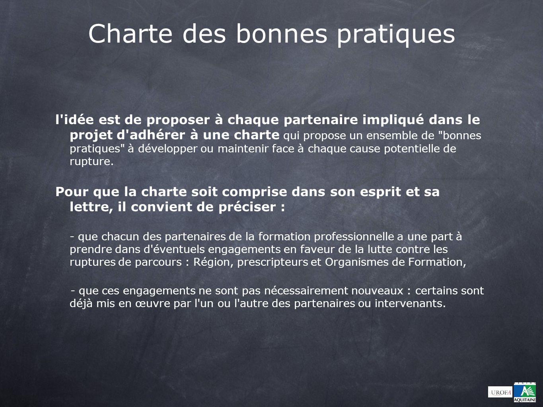 Charte des bonnes pratiques l'idée est de proposer à chaque partenaire impliqué dans le projet d'adhérer à une charte qui propose un ensemble de