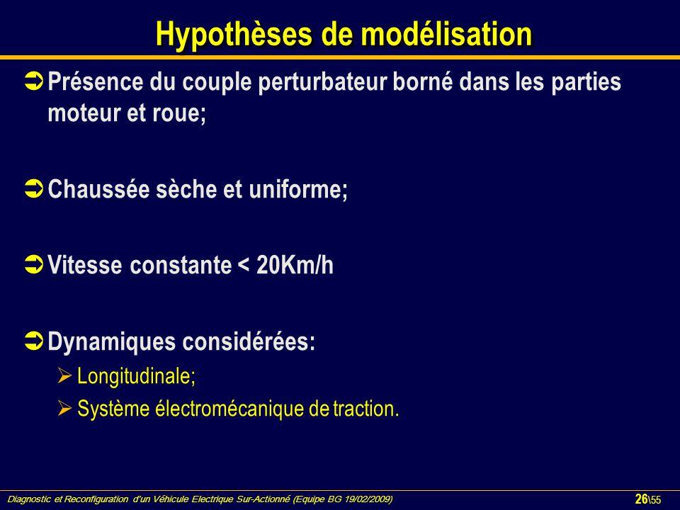 Diagnostic et Reconfiguration d'un Véhicule Electrique Sur-Actionné (Equipe BG 19/02/2009) 26 \55 Hypothèses de modélisation  Présence du couple pert