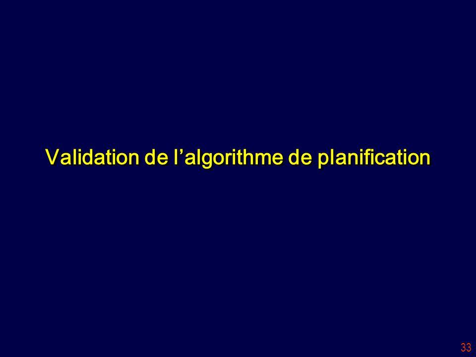 33 Validation de l'algorithme de planification