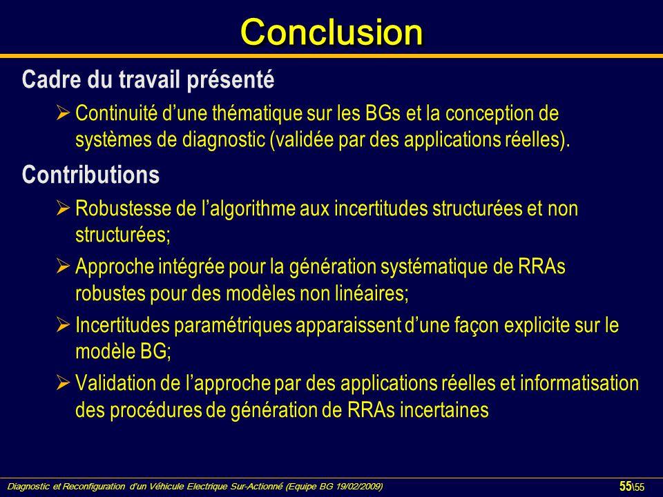 Diagnostic et Reconfiguration d'un Véhicule Electrique Sur-Actionné (Equipe BG 19/02/2009) 55 \55 ConclusionConclusion Cadre du travail présenté  Con