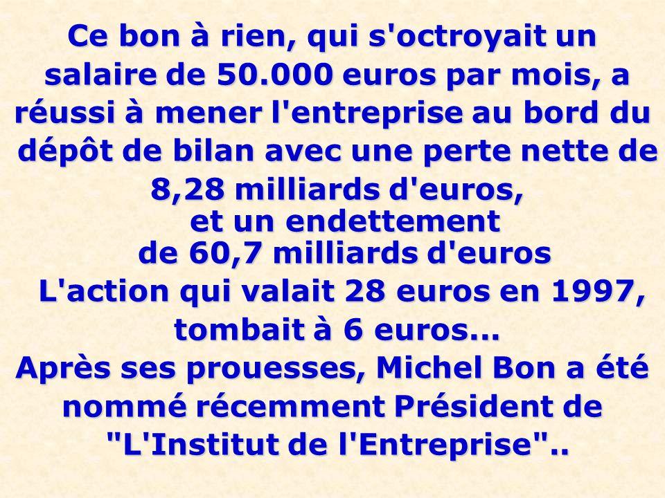 Il passa ainsi chez Carrefour , comme PDG, poste qu il occupa assez peu, l ensemble des cadres ayant envoyé une lettre exigeant son renvoi car il risquait de faire couler rapidement le groupe...