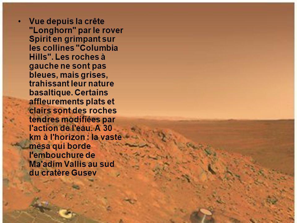 Atterrisseur technique vu par le rover Spirit qui vient de la quitter pour effectuer son premier trajet.
