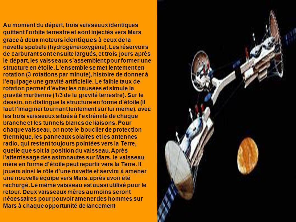 Au moment du départ, trois vaisseaux identiques quittent l orbite terrestre et sont injectés vers Mars grâce à deux moteurs identiques à ceux de la navette spatiale (hydrogène/oxygène).