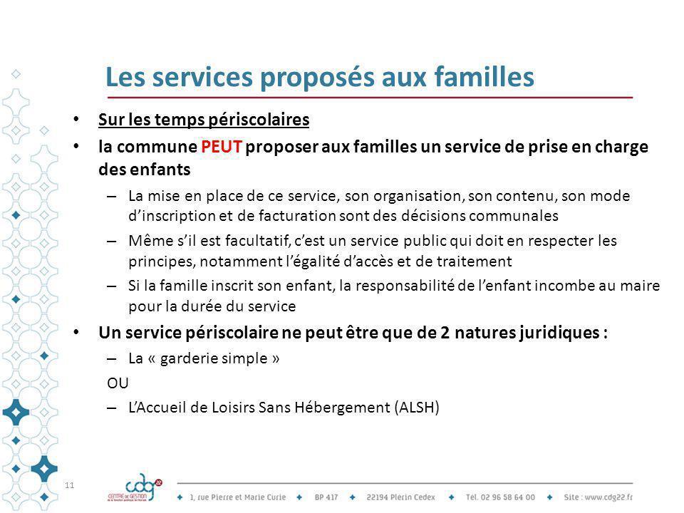 Les services proposés aux familles Sur les temps périscolaires la commune PEUT proposer aux familles un service de prise en charge des enfants – La mi
