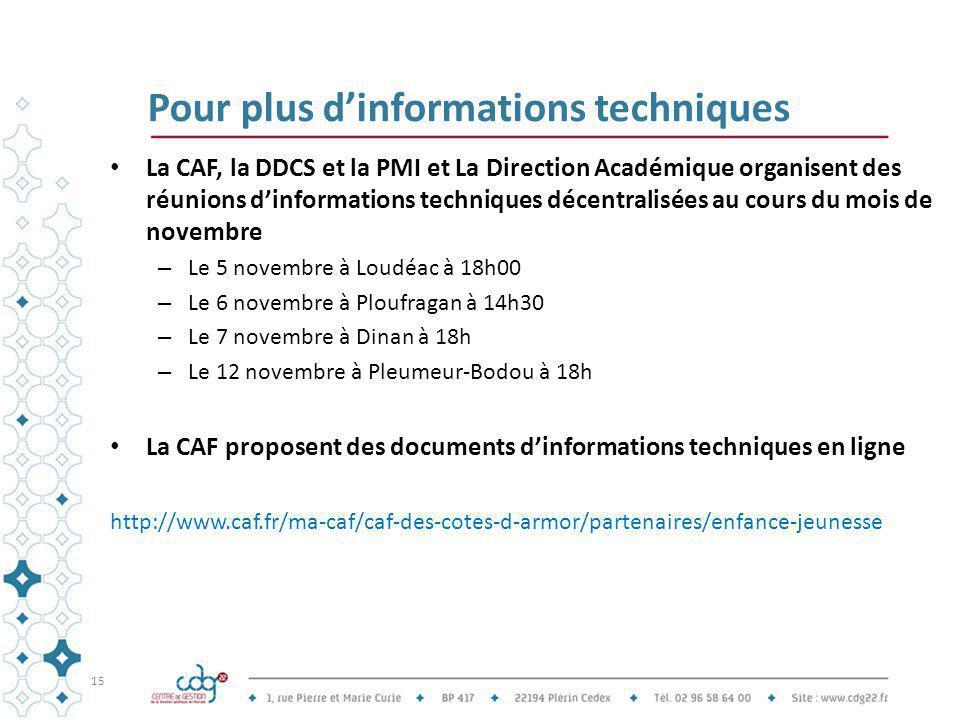 Pour plus d'informations techniques La CAF, la DDCS et la PMI et La Direction Académique organisent des réunions d'informations techniques décentralis