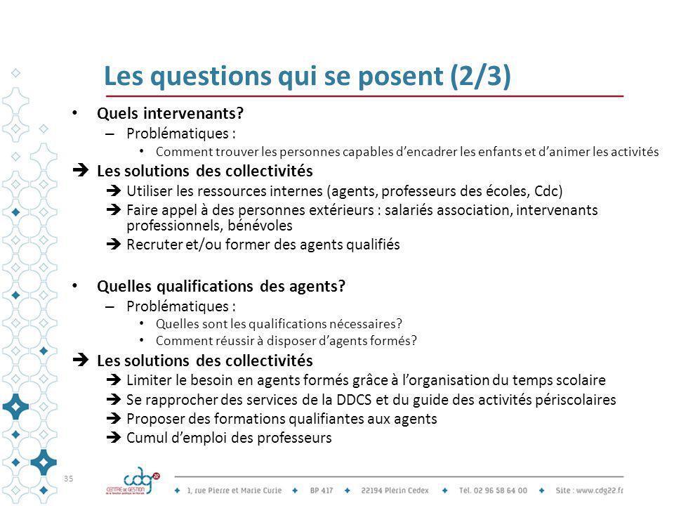 Les questions qui se posent (2/3) Quels intervenants? – Problématiques : Comment trouver les personnes capables d'encadrer les enfants et d'animer les