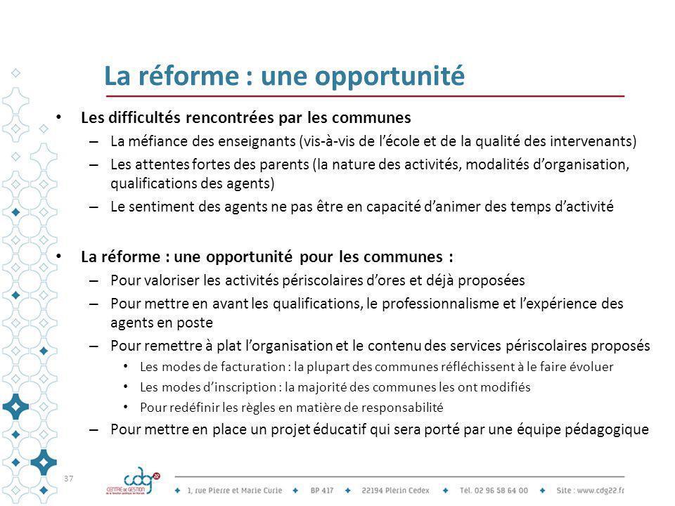 La réforme : une opportunité Les difficultés rencontrées par les communes – La méfiance des enseignants (vis-à-vis de l'école et de la qualité des int