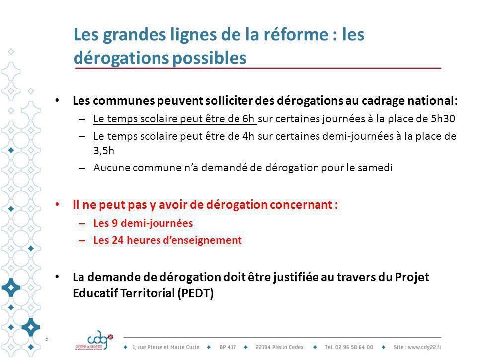 Les grandes lignes de la réforme : les dérogations possibles Les communes peuvent solliciter des dérogations au cadrage national: – Le temps scolaire