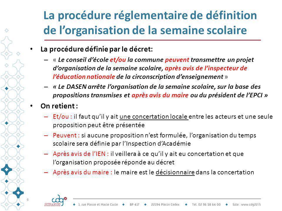 La procédure réglementaire de définition de l'organisation de la semaine scolaire La procédure définie par le décret: – « Le conseil d'école et/ou la