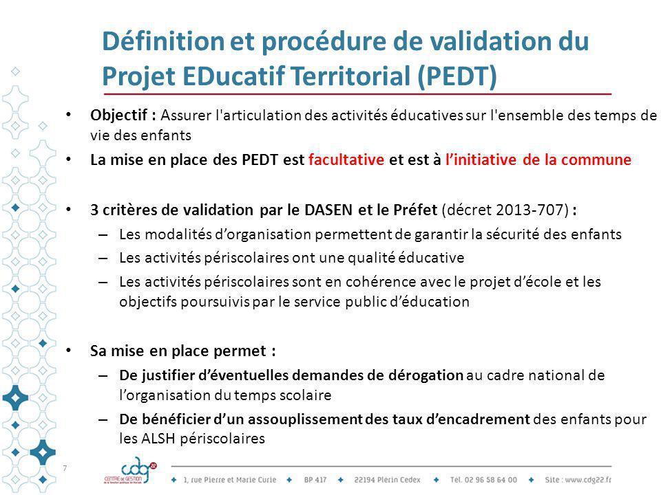 Définition et procédure de validation du Projet EDucatif Territorial (PEDT) Objectif : A ssurer l'articulation des activités éducatives sur l'ensemble