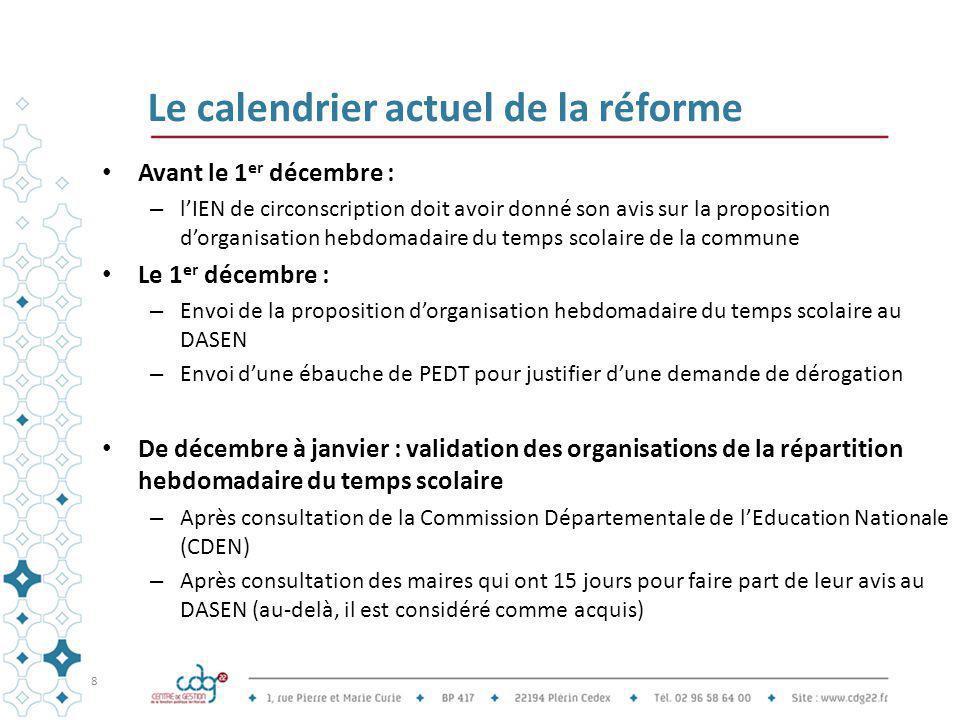 Le calendrier actuel de la réforme Avant le 1 er décembre : – l'IEN de circonscription doit avoir donné son avis sur la proposition d'organisation heb