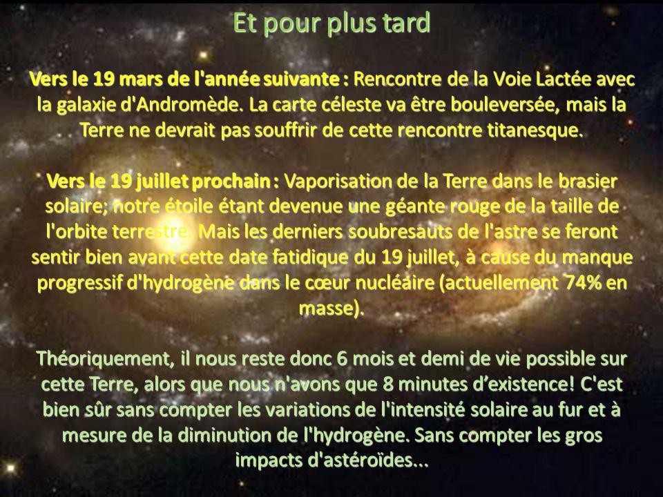 Au 13ème : La fin de toutes les ressources métalliques terrestres accessibles, crées avant le 31 août, par l'explosion de l'étoile qui a donné naissan