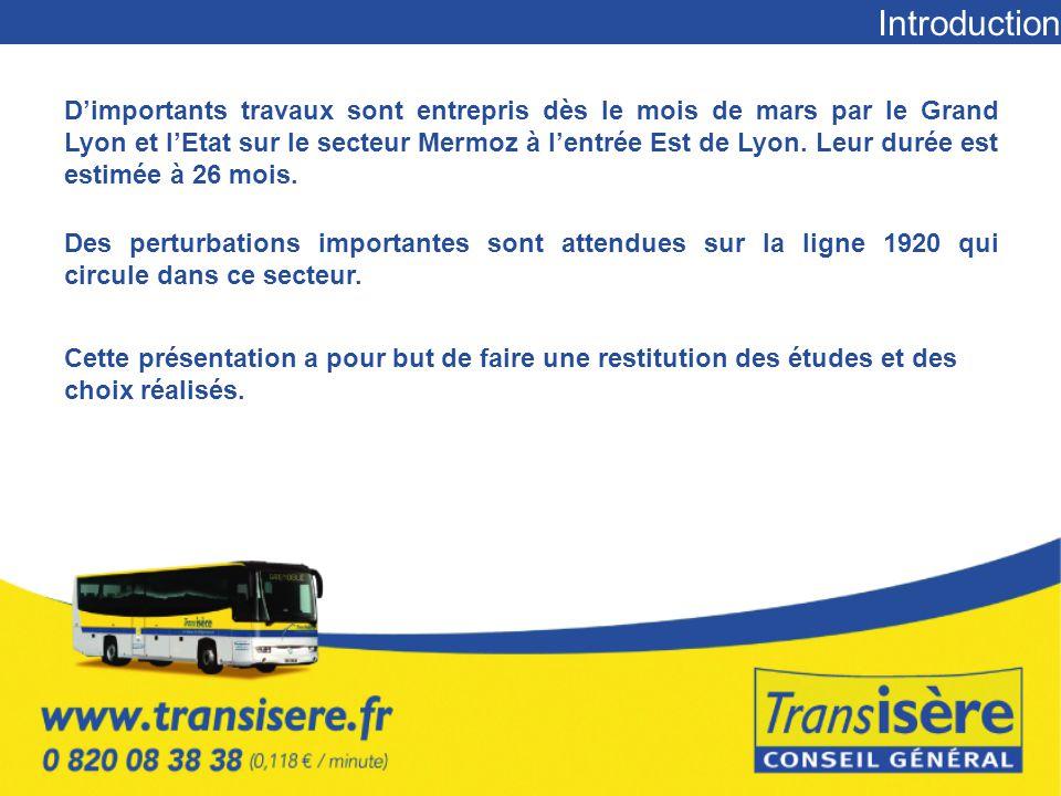 Introduction D'importants travaux sont entrepris dès le mois de mars par le Grand Lyon et l'Etat sur le secteur Mermoz à l'entrée Est de Lyon.