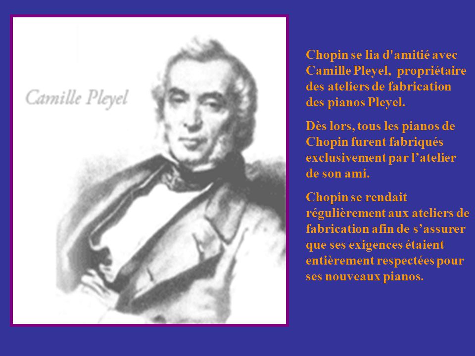 À Paris, Chopin se lia d'amitié avec plusieurs artistes dont Franz Liszt, Hector Berlioz, Félix Mendelssohn, et Vincenzo Bellini.