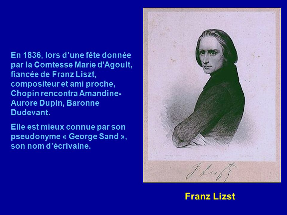 En 1838, son ami Eugène Delacroix peint ce portrait. Chopin était déjà très malade de la tuberculose. Il donnait des leçons privées et des récitals pu