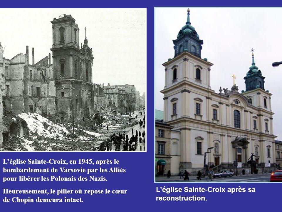 Chopin fût enterré au cimetière Père Lachaise à Paris. Selon ses derniers vœux, son cœur fut retiré et envoyé dans une urne à Varsovie où il fut scell