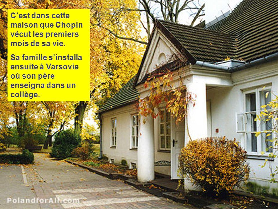 Chopin est né le 1 mars 1810 à Zelazowa Wola, près de Varsovie, en Pologne.