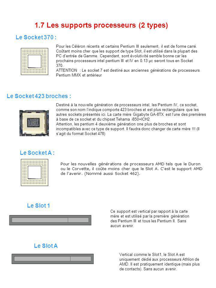1.7 Les supports processeurs (2 types) Le Socket 370 : Pour les Céléron récents et certains Pentium III seulement, il est de forme carré. Coûtant moin